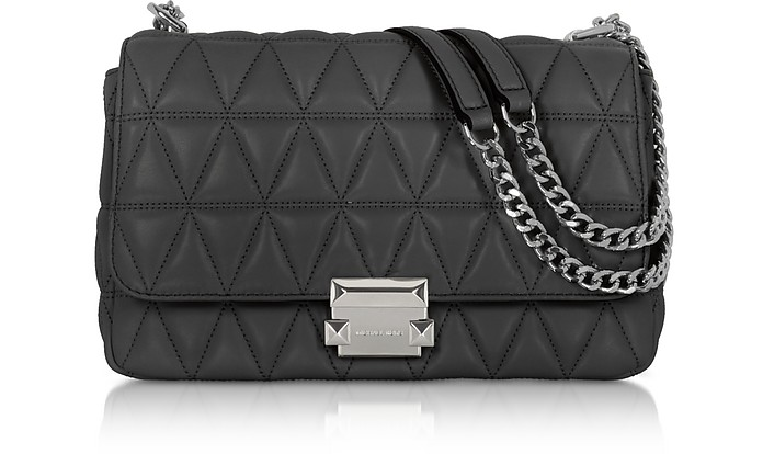 786d82b509 Michael Kors Black Sloan Large Quilted-Leather Shoulder Bag at FORZIERI