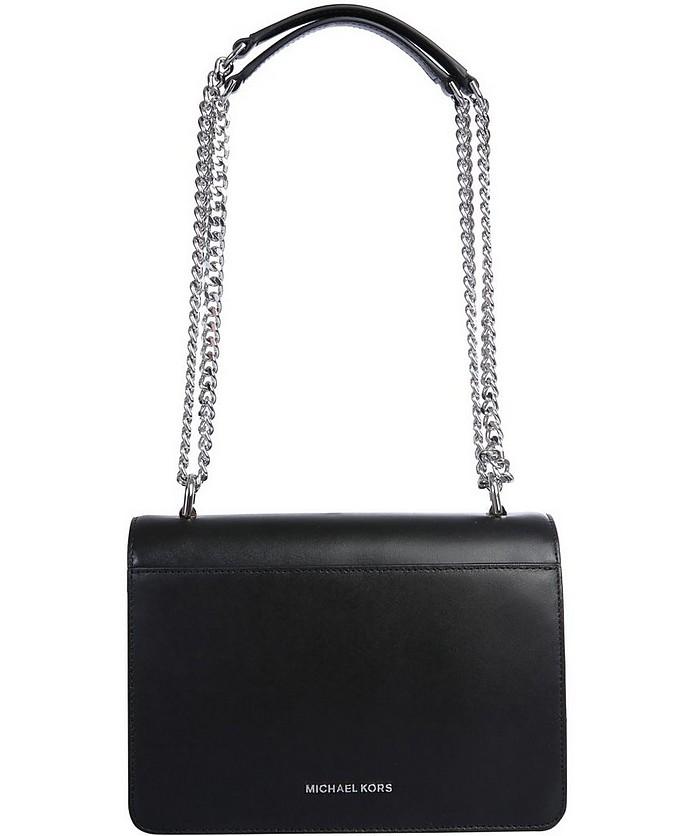 Michael Kors Black Leather Bag Silver Chain Strap