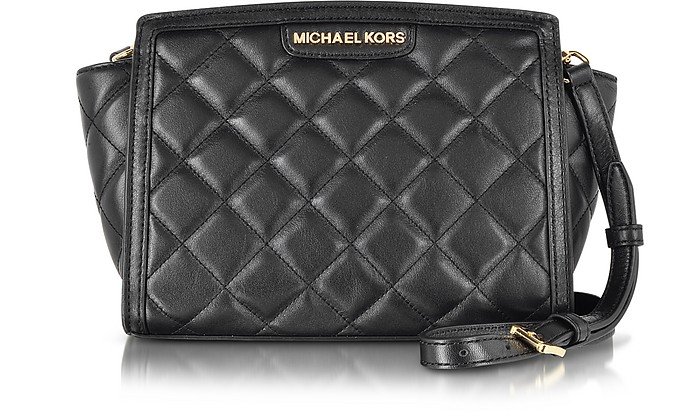 Selma Black Medium Quilted Messenger Bag - Michael Kors