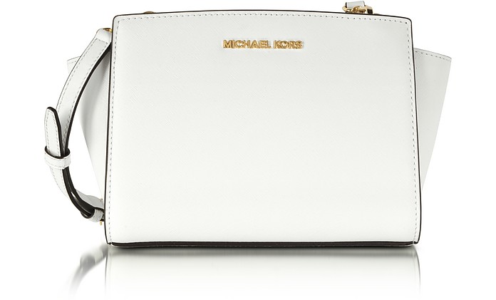 Optic White Medium Saffiano Leather Selma Messenger  - Michael Kors