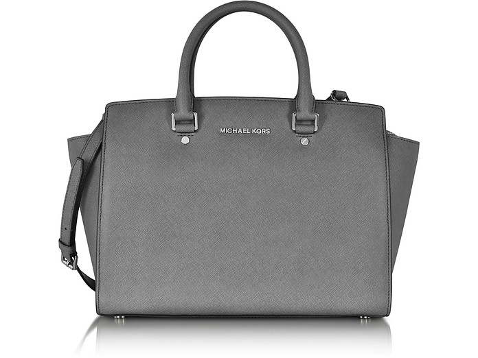 255891287637 Michael Kors Heather Grey Selma Large Saffiano Leather Satchel at ...