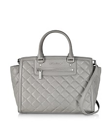Selma Large Pearl Grey Quilted Leather Satchel