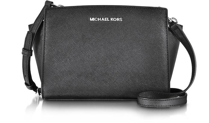 Selma Black Saffiano Leather Medium Messenger Bag - Michael Kors