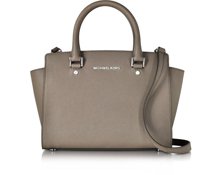 cf8cef98439d Selma Cinder Saffiano Leather Medium Top Zip Satchel Bag - Michael Kors