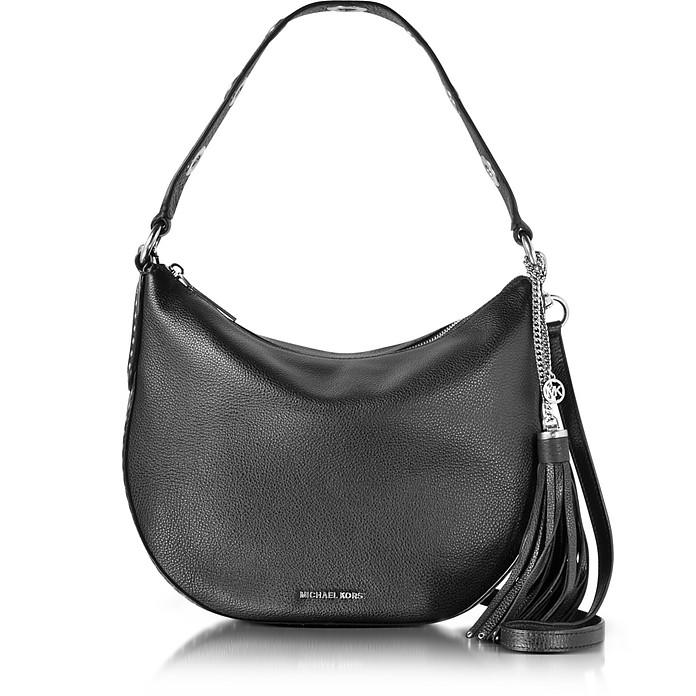 9b975eb7dfd Michael Kors Brooklyn Medium Convertible Black Leather Hobo at FORZIERI