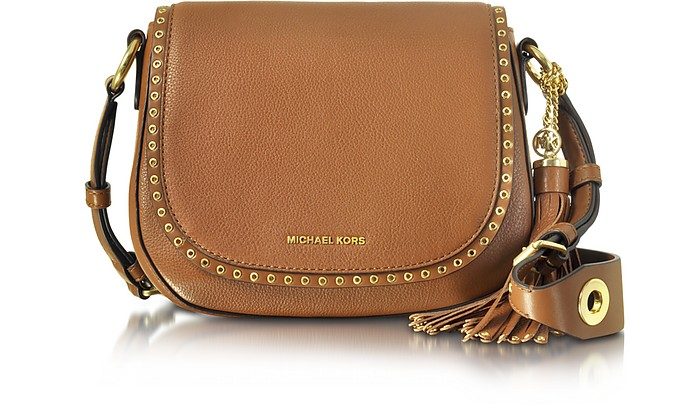 Brooklyn Medium Luggage Leather Saddle Bag - Michael Kors