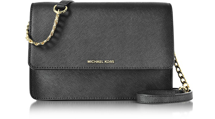 931a5997bb0e Michael Kors Daniela Large Black Saffiano Leather Crossbody Bag at ...