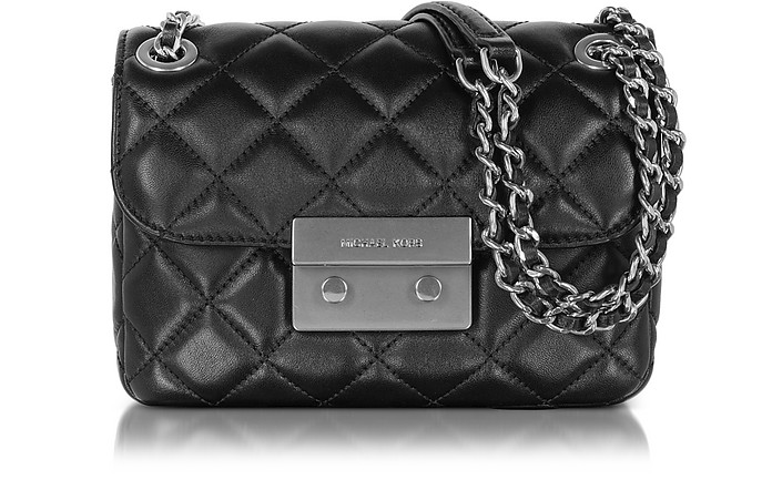 ee8c893e3464 Michael Kors Sloan Small Quilted-Leather w/Brushed Nickel Chain Shoulder Bag