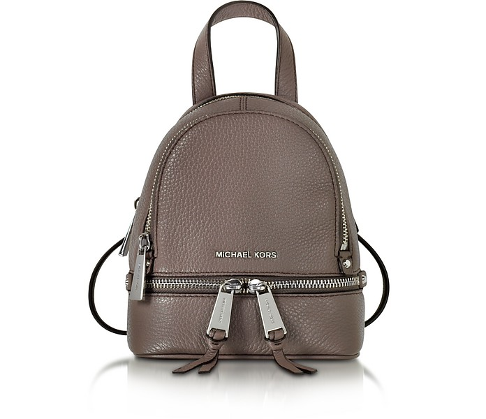 Rhea Zip X-Small Cinder Leather Messenger Backpack