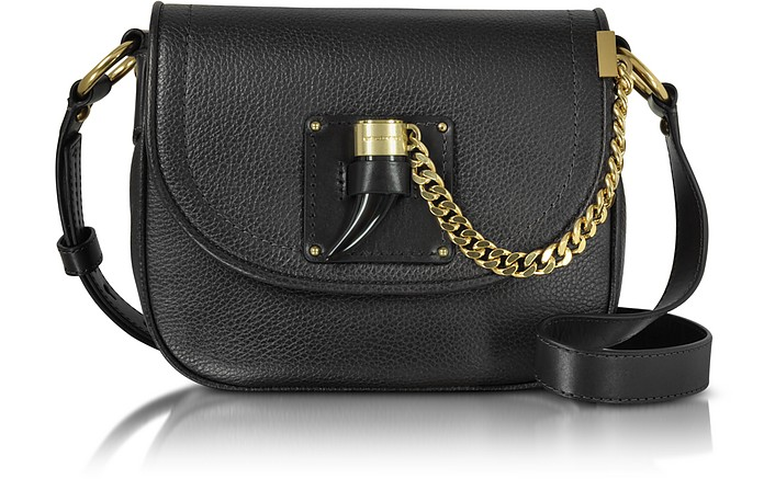 1ae023da453e Michael Kors Black James Medium Leather Saddlebag at FORZIERI