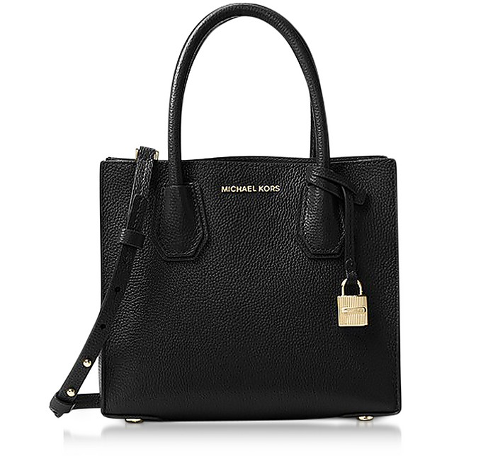 b877ff00d4038c Michael Kors Mercer Medium Black Pebble Leather Crossbody Bag at ...