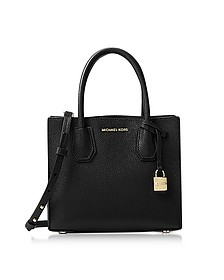 Mercer Medium Black Pebble Leather Crossbody Bag - Michael Kors