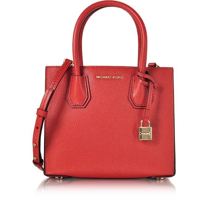 Mercer Medium Bright Red Pebble Leather Crossbody Bag - Michael Kors
