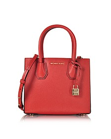 Mercer Medium Borsa in Pelle Rosso Bright con Tracolla - Michael Kors