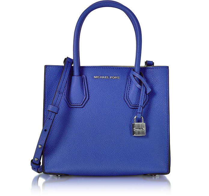 156c0bad4158 Mercer Medium Electric Blue Pebble Leather Crossbody Bag - Michael Kors