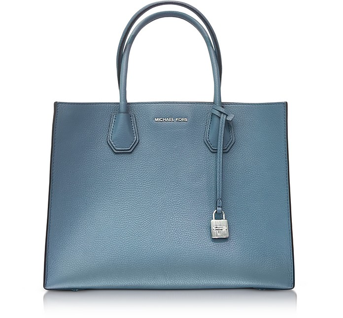 Mercer Large Denim Pebble Leather Convertible Tote Bag - Michael Kors