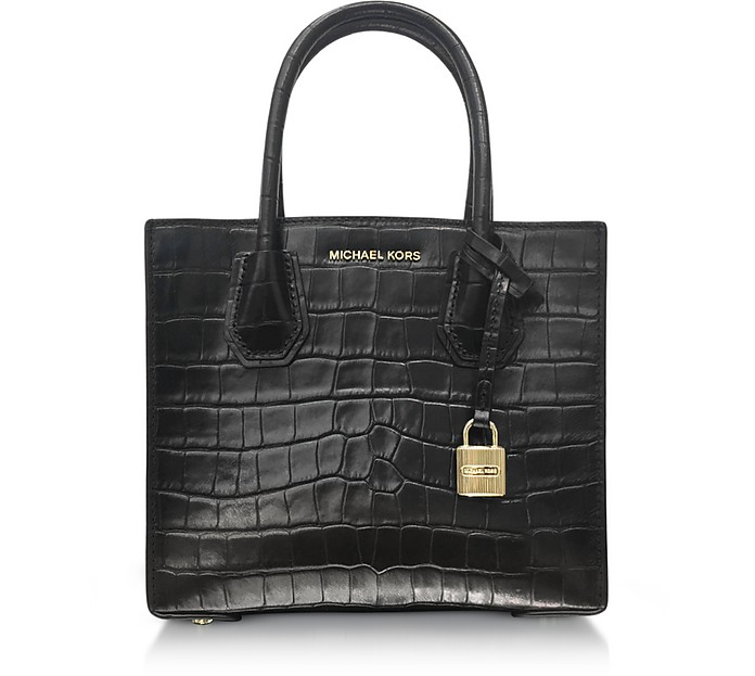 Mercer Medium Black Embossed Croco Leather Crossbody Bag - Michael Kors