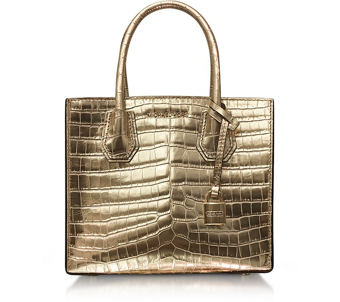 Mercer Medium Gold Metallic Embossed Croco Leather Crossbody Bag - Michael Kors