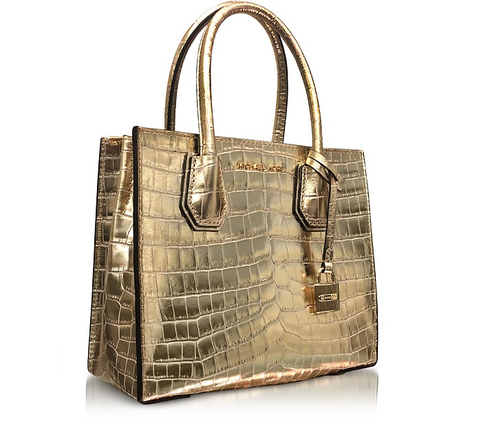 d993367b8cc0 Mercer Medium Gold Metallic Embossed Croco Leather Crossbody Bag - Michael  Kors. C 333.75 C 445.00 Actual transaction amount