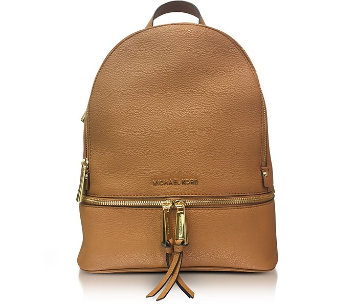 Rhea Zip Medium Luggage Leather Backpack - Michael Kors