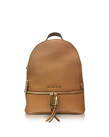 Rhea Zip Medium Luggage Leather Backpack - Michael Kors