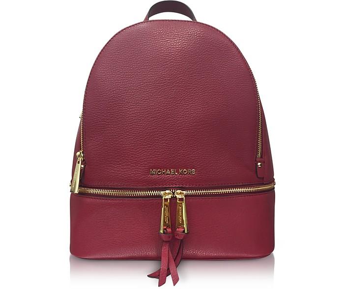 Rhea Zip Medium Mulberry Leather Backpack - Michael Kors