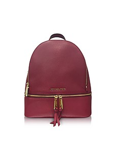 Rhea Zip Medium Mulberry Leather Backpack - Michael Kors