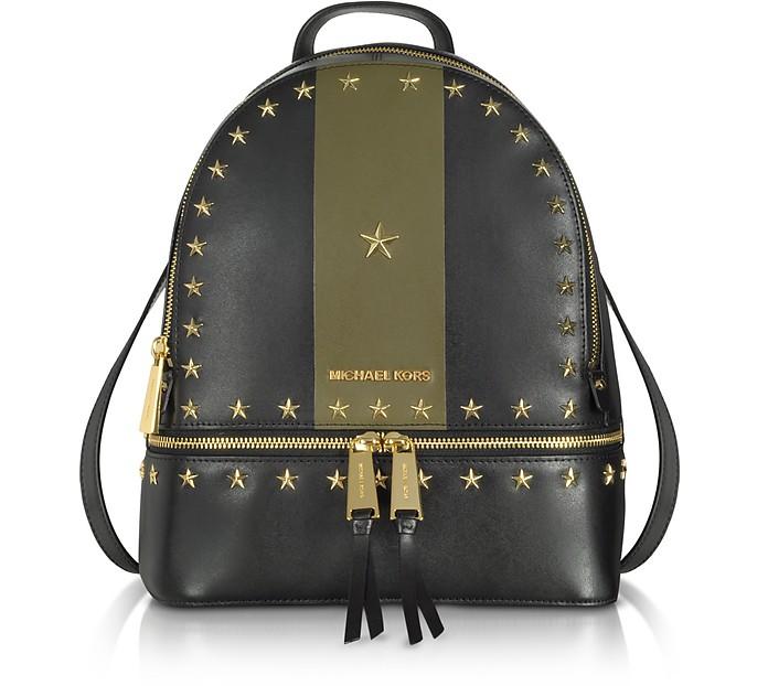 Rhea Zip Medium Black and Olive Leather Backpack w/Stars - Michael Kors