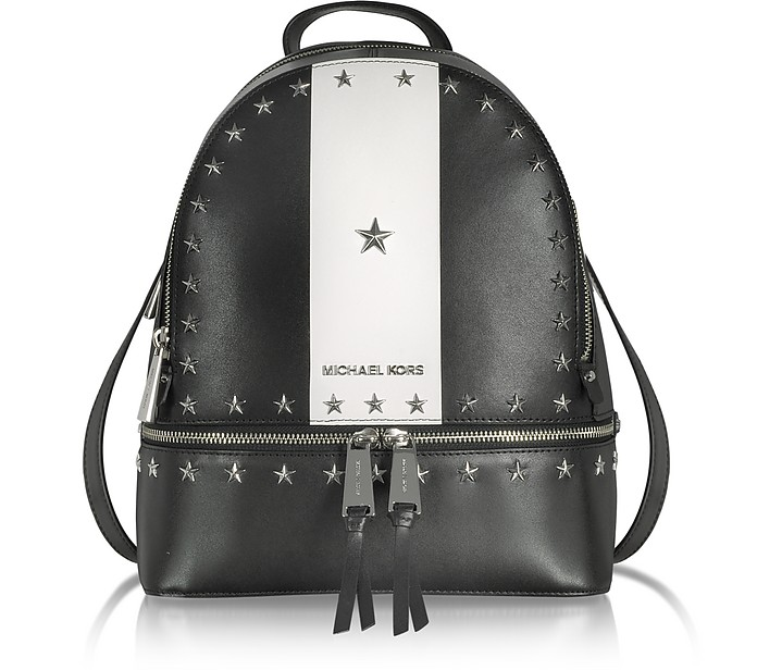 ee6d7b6c07c5 Rhea Zip Medium Black and White Leather Backpack w/Stars - Michael Kors