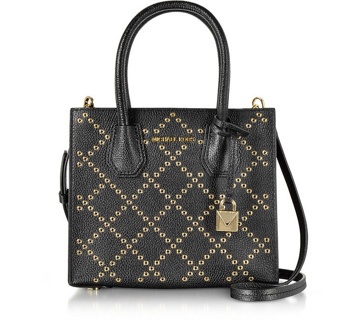 Mercer Stud and Grommet Medium Black Pebble Leather Crossbody Bag - Michael Kors