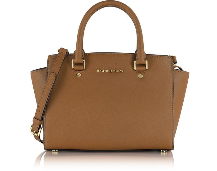 Selma Medium Luggage Saffiano Leather Top-Zip Satchel Bag - Michael Kors