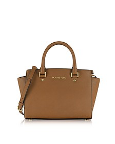 Selma Medium Luggage Saffiano Leather Top-Zip Satchel Bag - Michael Kors