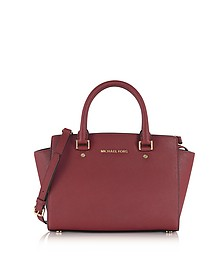 Selma Medium Mulberry Saffiano Leather Top-Zip Satchel Bag - Michael Kors