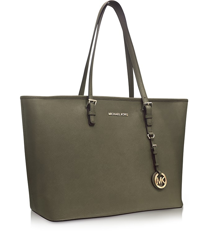 c44020becb4d Jet Set Travel Medium Olive Saffiano Leather Top-Zip Tote - Michael Kors.  Sold Out