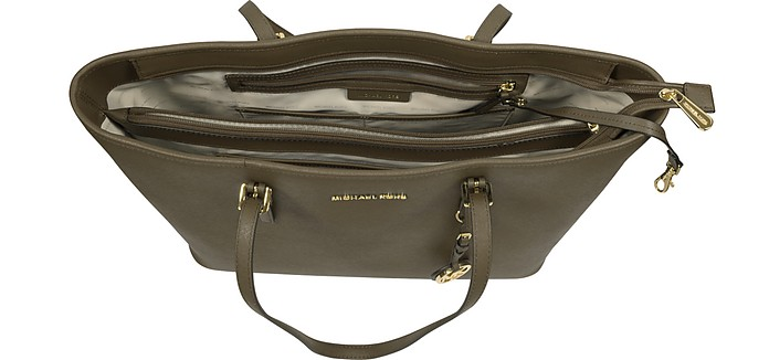 6e5de6f30124 Jet Set Travel Medium Olive Saffiano Leather Top-Zip Tote - Michael Kors.  Sold Out