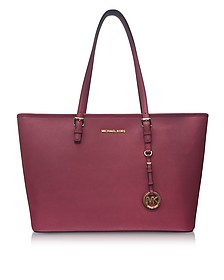 Jet Set Travel Medium Mulberry Saffiano Leather Top-Zip Tote - Michael Kors