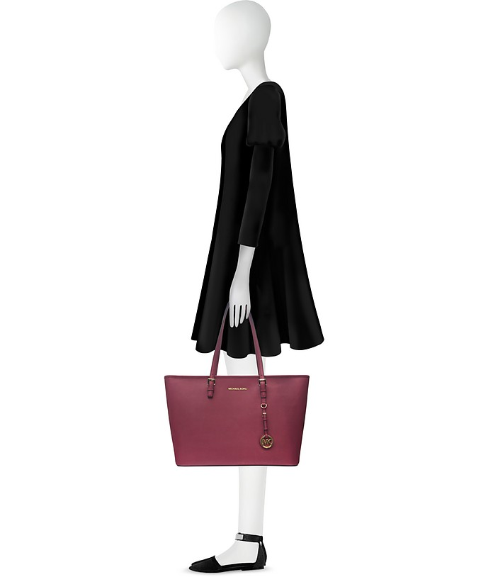 b8086f80406b Jet Set Travel Medium Mulberry Saffiano Leather Top-Zip Tote - Michael Kors.  Sold Out