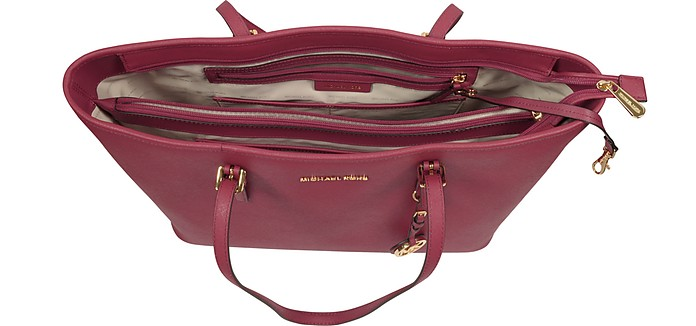 a46074f76150 Jet Set Travel Medium Mulberry Saffiano Leather Top-Zip Tote - Michael  Kors. Sold Out