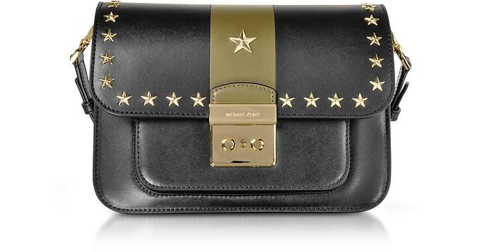 31f867f7f4ba Sloan Editor Large Black and Olive Leather Shoulder Bag w/Stars - Michael  Kors