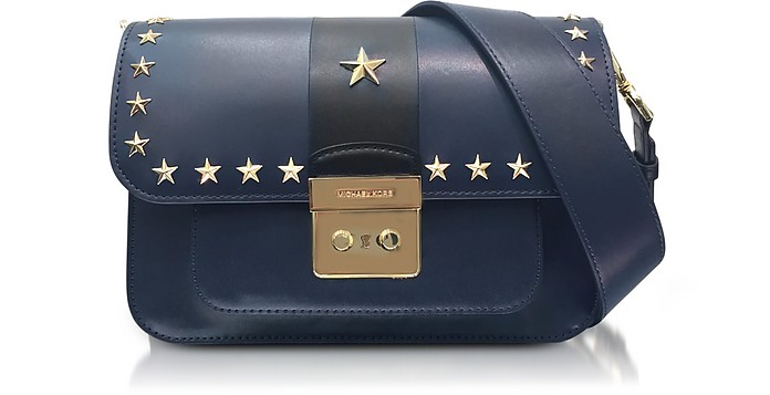 41a72277b407 Sloan Editor Large Admiral and Black Leather Shoulder Bag w Stars - Michael  Kors