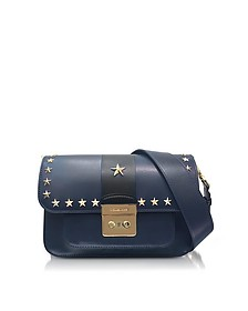 Sloan Editor Large Admiral and Black Leather Shoulder Bag w/Stars - Michael Kors