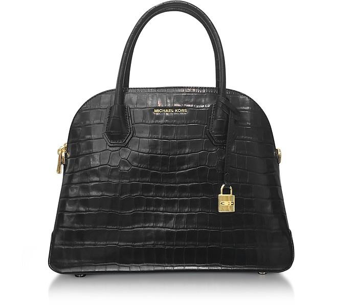 Mercer Large Black Embossed Croco Leather Dome Satchel Bag - Michael Kors