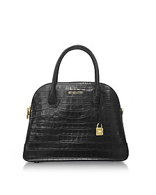 Mercer Large Black Embossed Croco Leather Dome Satchel Bag - Michael Kors