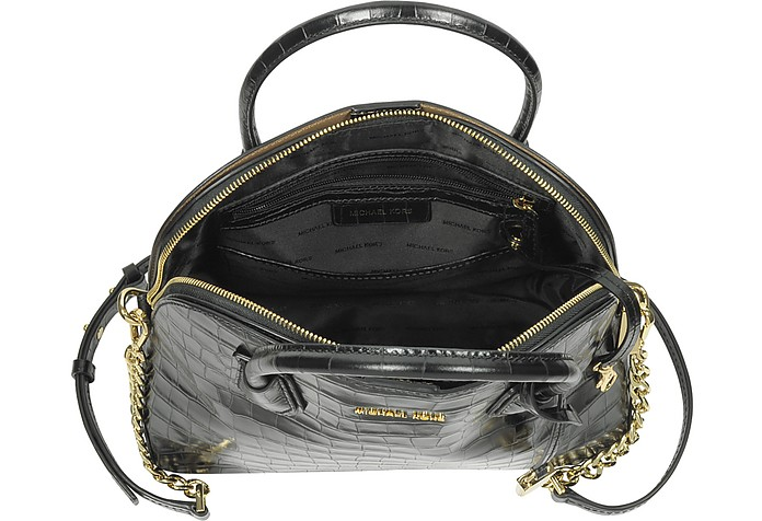 be3f24556719 Mercer Large Black Embossed Croco Leather Dome Satchel Bag - Michael Kors.  Sold Out
