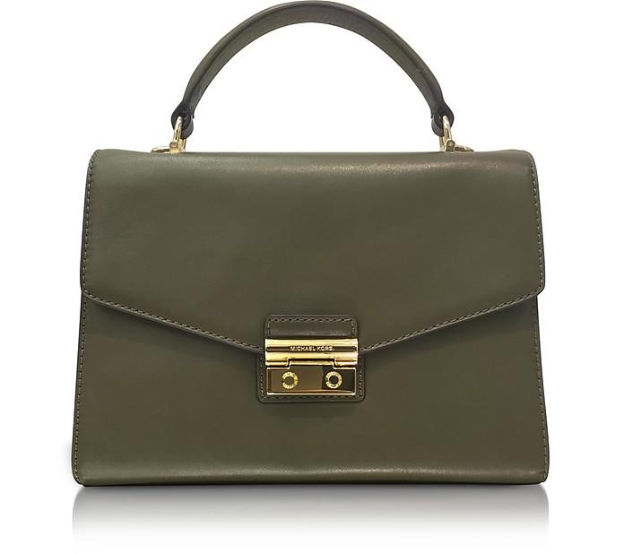 Sloan Medium Olive Leather Satchel Bag - Michael Kors