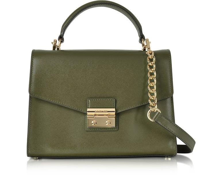 Sloan Medium Olive Leather Satchel Bag