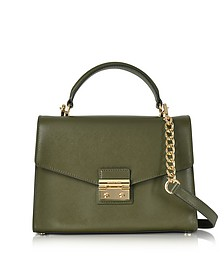 Sloan Medium Olive Leather Satchel Bag - Michael Kors