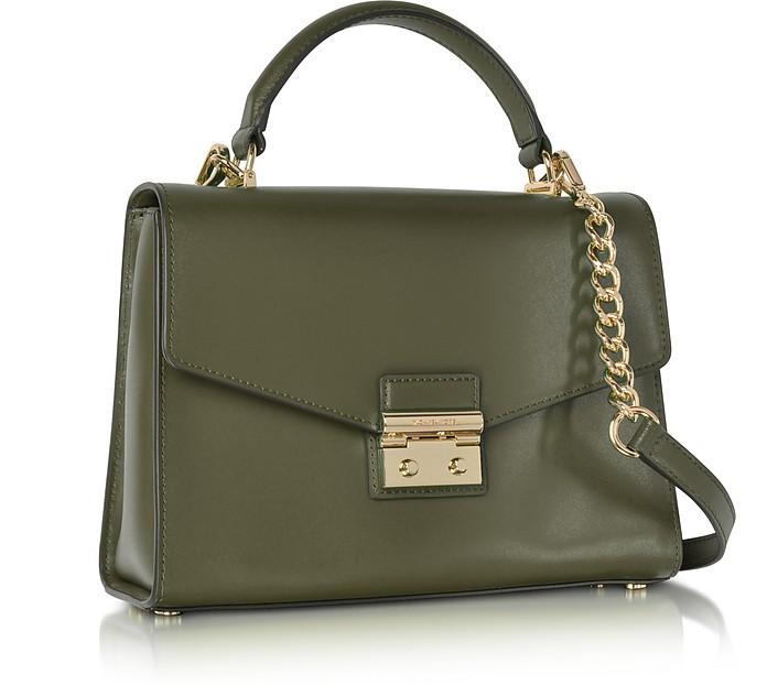 Michael Kors Sloan Medium Olive Leather Satchel Bag at FORZIERI