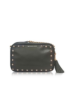 Ginny Medium Olive Leather Camera Bag w/Stars - Michael Kors