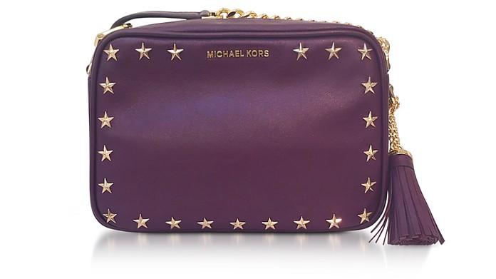 Ginny Medium Damson Leather Camera Bag w/Stars - Michael Kors